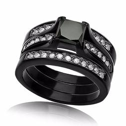 3 Pieces Women's .925 Sterling Silver Black Wedding Engageme