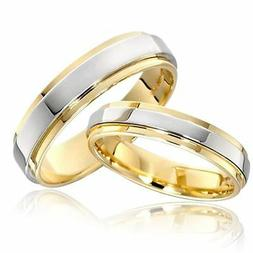 316L Stainless Steel Couple Rings Gold Plating Engagement Je