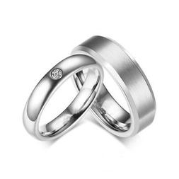 316L Stainless Steel CZ Silver Band Men Women's Couple Rings