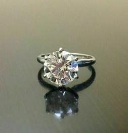 3Ct Round Cut Moissanite Diamond Solitaire Engagement Ring 9