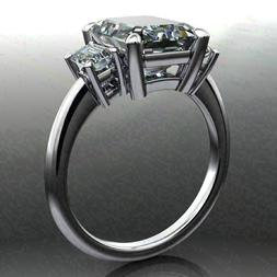 4.00Ct Emerald Cut Moissanite Three Stone Engagement Ring So