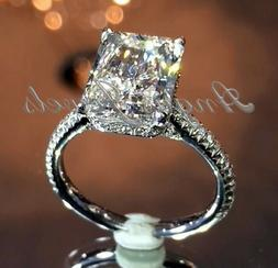 4.03ct Radiant Cut Solitaire Diamond Engagement Ring Band So