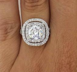 4 Carat Double Halo Round Cut Diamond Engagement Ring SI1/D