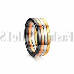 4pcs 2mm Women's Stainless Steel Stacking Wedding Engagement