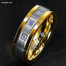 8mm Silver Tungsten Ring Brushed 18K Gold Diamonds ATOP-LUXU