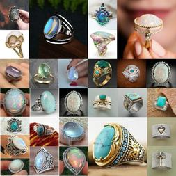 925 Silver Ring Woman Fire Opal Moon Stone Turquoise Wedding