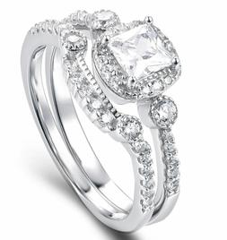925 Sterling Silver Cz Wedding Band Engagement Rings Set Wom