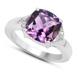 925 Sterling Silver Engagement Ring 3.56 ct Genuine Purple A