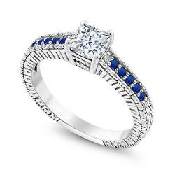925 Sterling Silver Engagement Ring Created Moissanite and S
