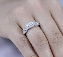 925 STERLING SILVER HALF ETINITY CZ ENGAGEMENT RING BAND WOM
