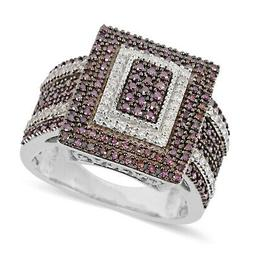 925 Sterling Silver Purple Diamond Cluster Ring Jewelry for