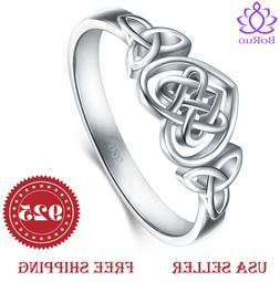 925 Sterling Silver Ring Boruo Celtic Knot Heart Eternity We