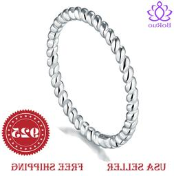 BORUO 925 Sterling Silver Ring Eternity Rope Comfort Fit Wed