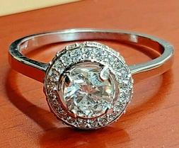 Art Deco Engagement Ring 3 Ct Diamond Halo Solitaire Wedding