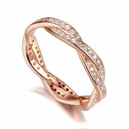 Wostu Authentic S925 Sterling Silver Twist Ring With Cubic Z