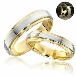 Band Ring Gift Couple Rings 316L Stainless Steel Gold Platin