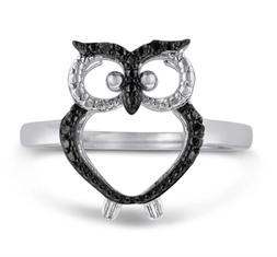 SuperJeweler Black Diamond Owl Ring Crafted In Solid Sterlin