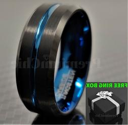 Black Tungsten Carbide Band Engagement Ring Thin Blue Line M