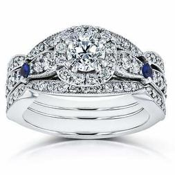 Annello by Kobelli 14k White Gold Sapphire and 1 1/4ct TDW