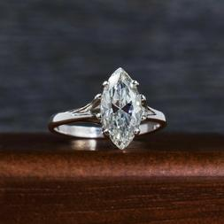 Certified 2Ct Marquise Moissanite Solitaire Engagement Ring