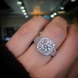 Certified 3.00 Ct Round Diamond Double Halo Engagement Ring