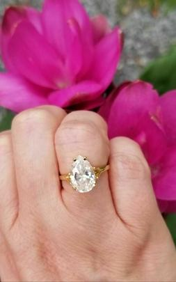 Certified 3ct Pear Moissanite Diamond Engagement Ring in Sol