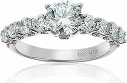 Cubic Zirconia Eleven Stone Sterling Silver Engagement Ring