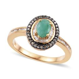 Emerald Diamond Halo Ring Silver Vermeil Yellow Gold for Wom