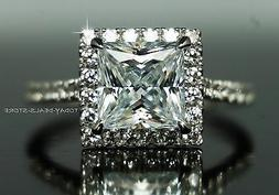 Halo Engagement  Ring Princess Cut Wedding Promise Solid 14K