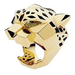 EVER FAITH Gold-Tone Leopard Man Woman Cocktail Ring Green Z