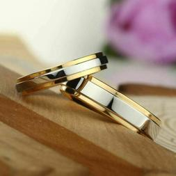 Fashion 316L Stainless Steel Couple Rings Gold Band Engageme