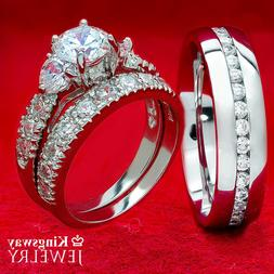 HIS HERS 3 PC WOMENS 925 SILVER HEART & MENS STEEL ENGAGEMEN