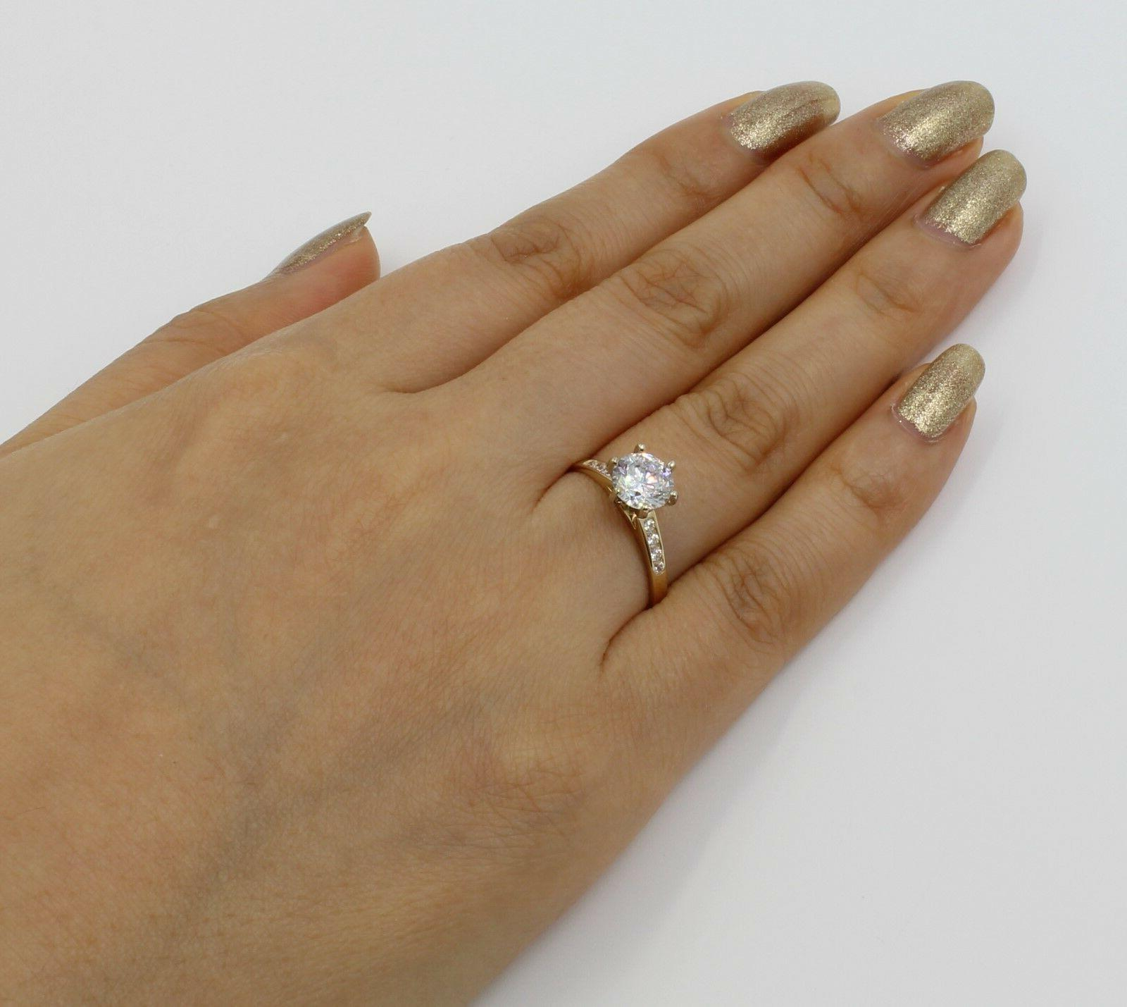 1.25 14K Gold Cathedral Round Engagement Wedding Propose Promise