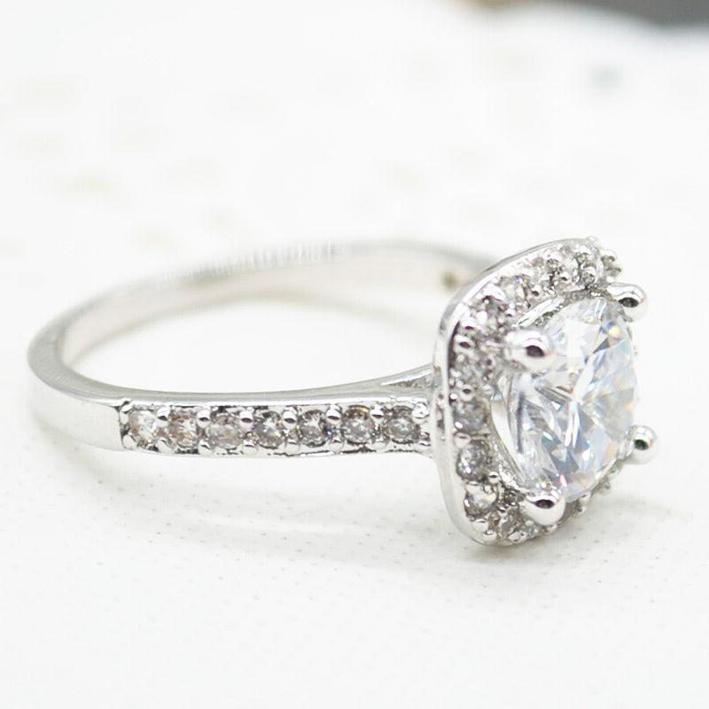 1.5 CT RING CUT White Gold Plated SIZE 5-10