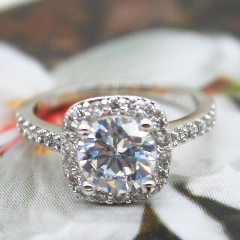 RING ROUND White Gold Plated Bridal SIZE 5-10