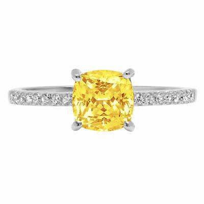 1.66 Cushion Yellow CZ Statement Engagement Wedding Designer