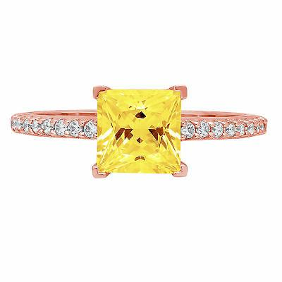 1.66 Princess Yellow CZ Statement Engagement Wedding Designe