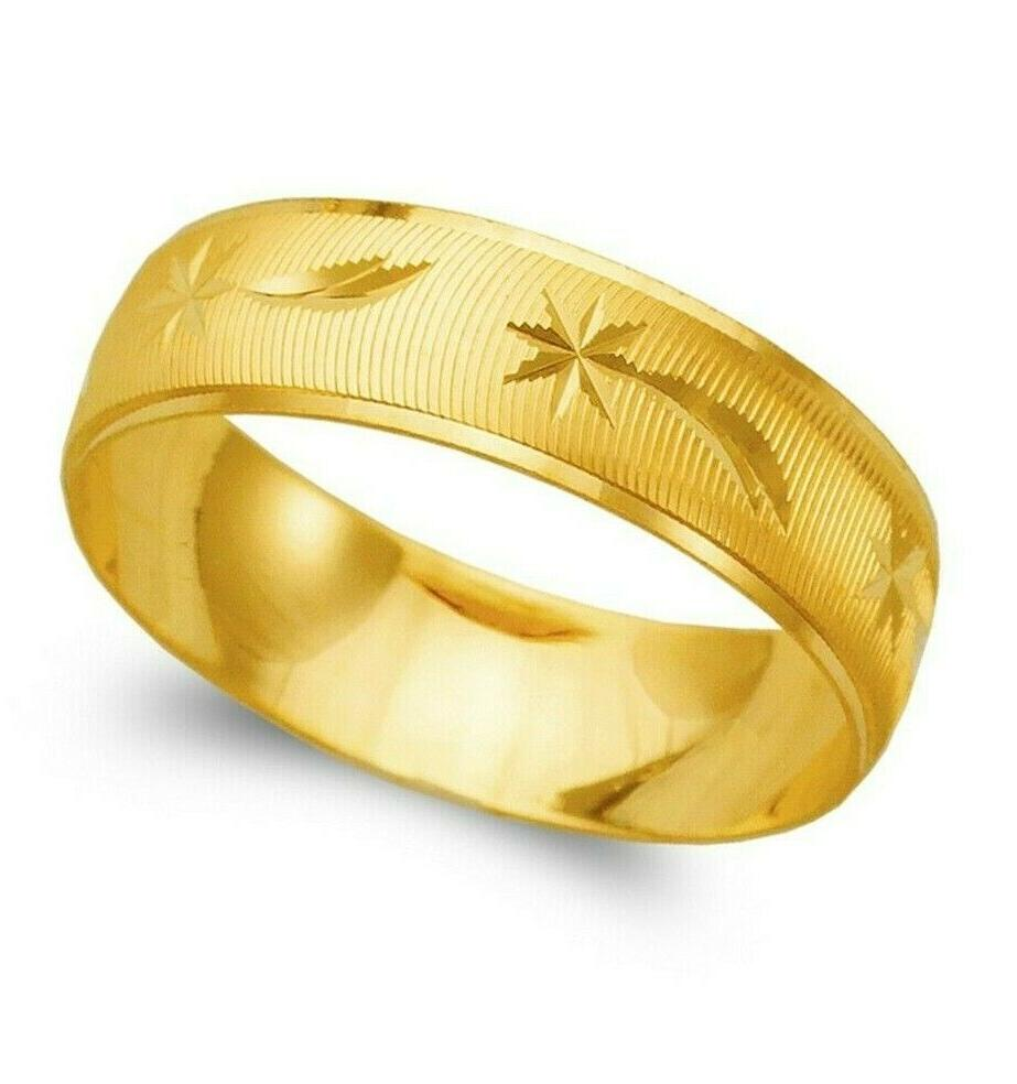 14k yellow solid gold band ring men