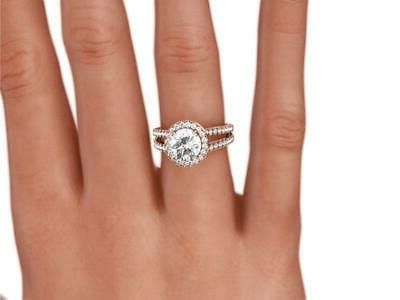 18 DIAMOND RING HALO 1 1/2 PRONG COLORLESS SIDE