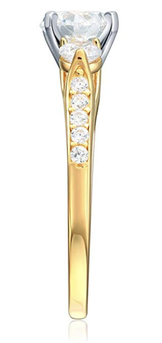 2.25 Cut 3-Stone Wedding Real Solid 14K Gold