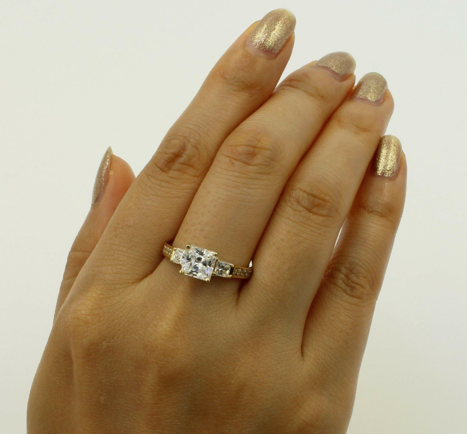 2.5 Ct Yellow Gold Princess 3 Engagement Promise
