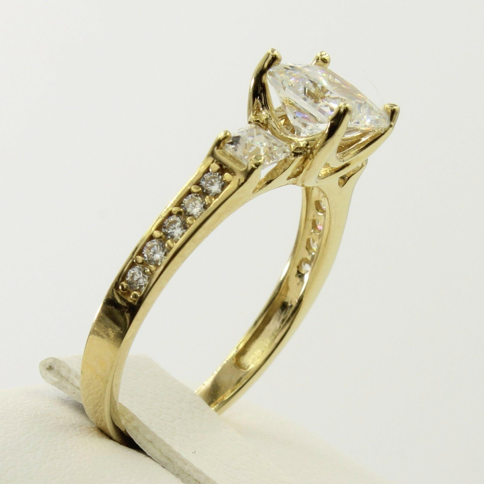 2.5 14K Real Yellow Cut 3 Engagement Promise Ring