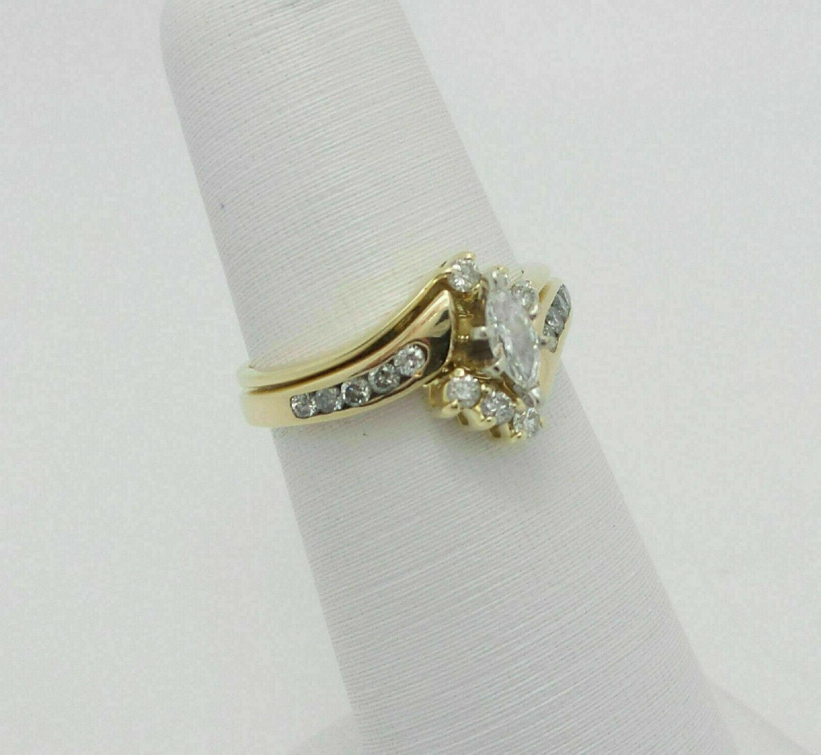 2.76Ct Marquise Cut Diamond Engagement Wedding Band Solid Yellow