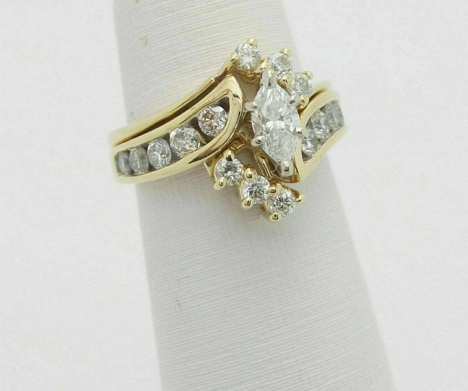2.76Ct Marquise Diamond Engagement Band Ring Solid 14K Yellow