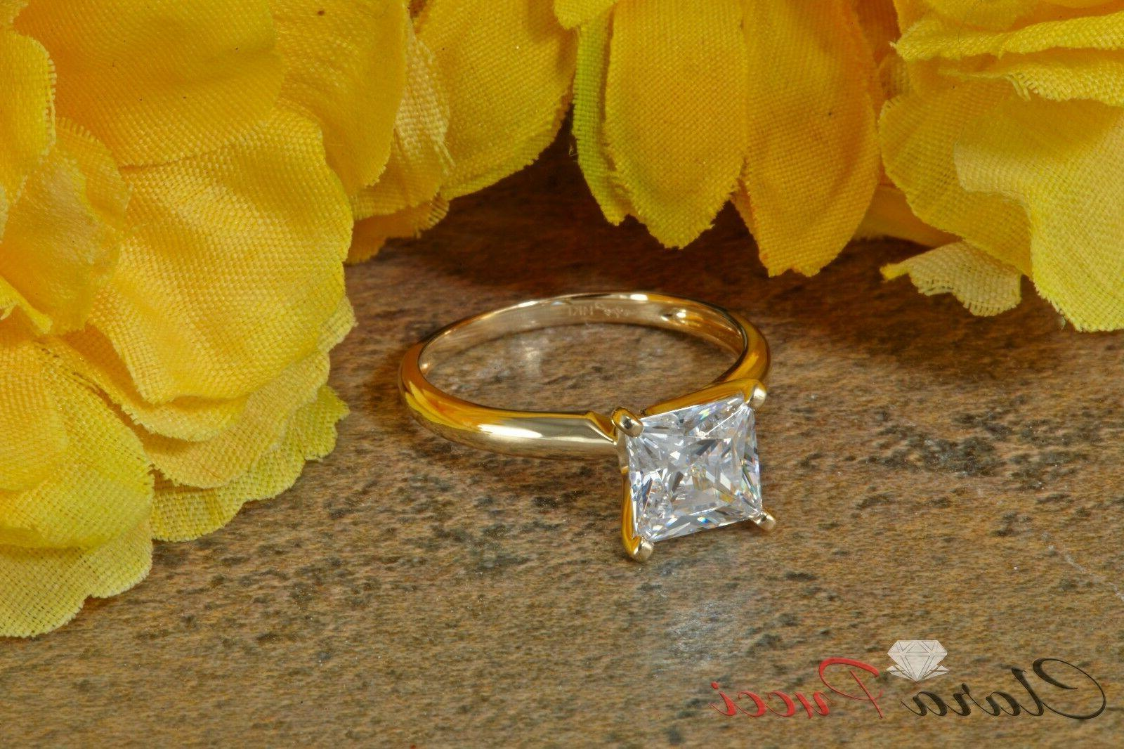 1.50 CUT SOLITAIRE ENGAGEMENT REAL Yellow GOLD