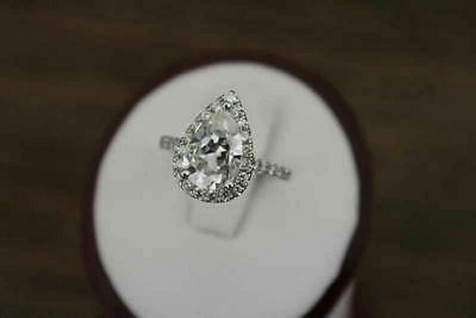 3.27Ct Pear Diamond Solid Band White