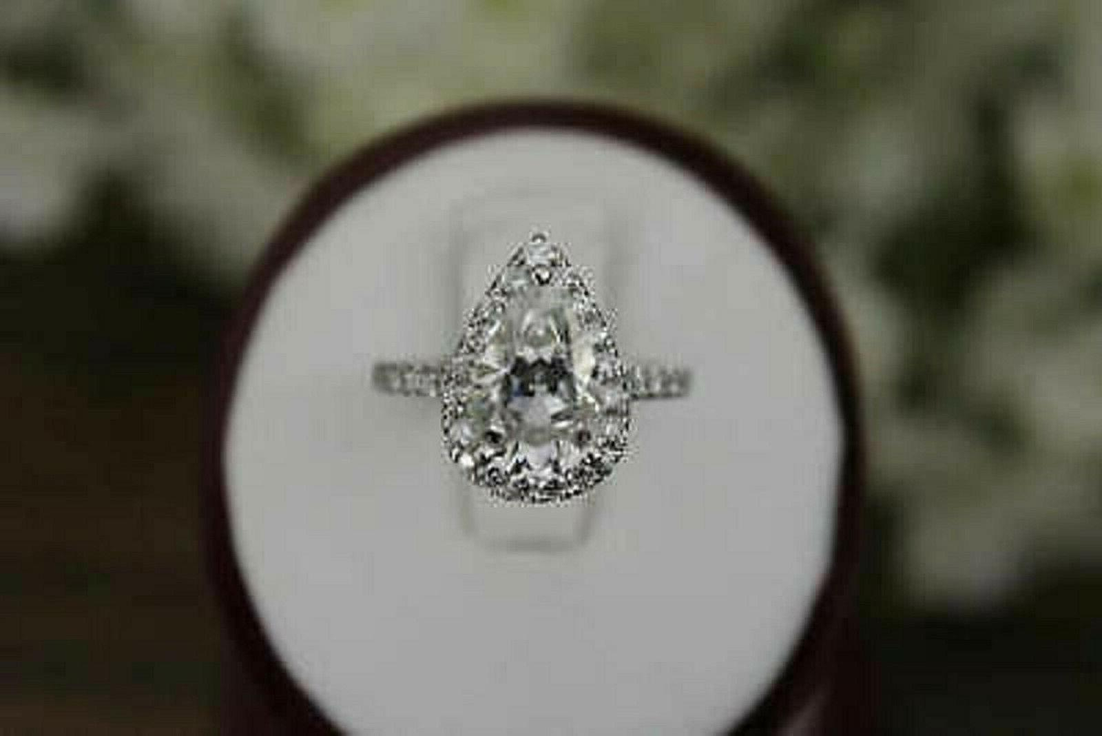 3.27Ct Pear Diamond Solid Band Gold