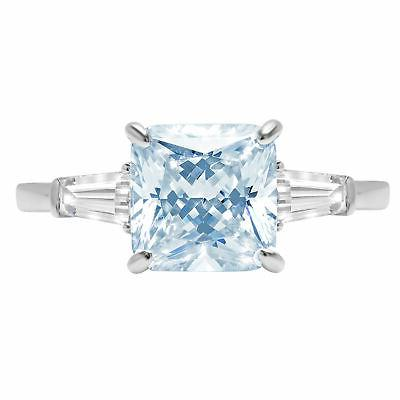 3.5 ct Asscher 3 stone Blue CZ Statement Engagement Wedding