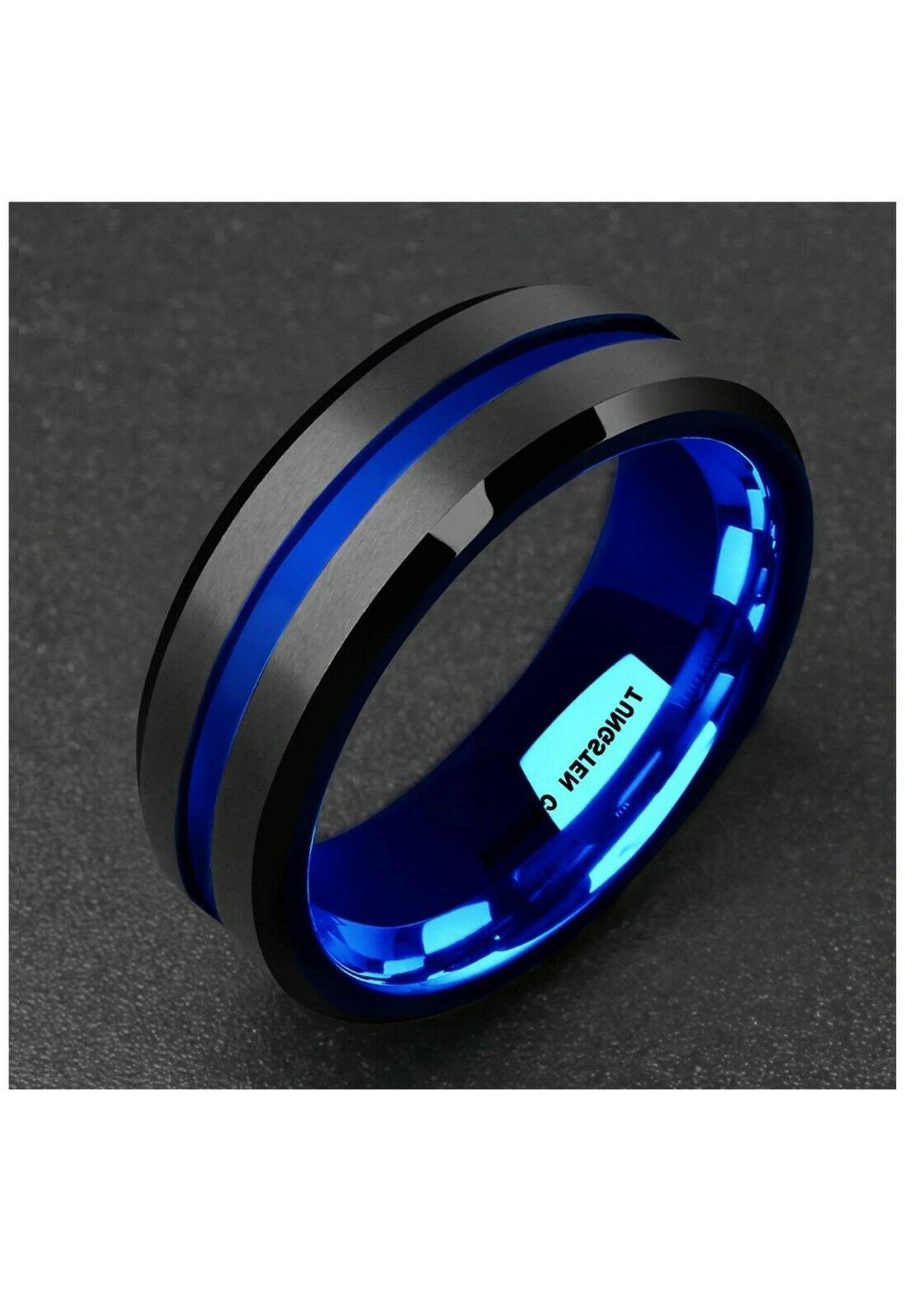 8MM Black Blue Tungsten Ring for Men Band