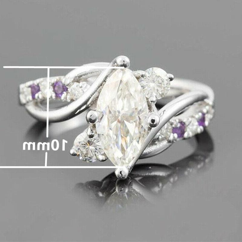 925 Rings Marquise Cut Engagement Sz 6-10